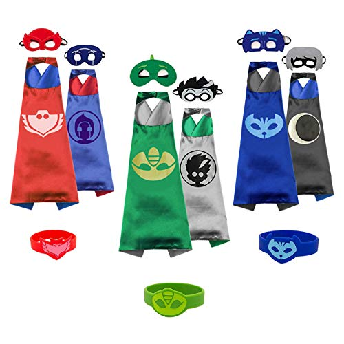 Catboy Owlette Gekko Costumes and Dress Up for Kids - Superhero Double-Sided Capes Masks and Bracelets for Holiday Parties for $<!--$17.99-->