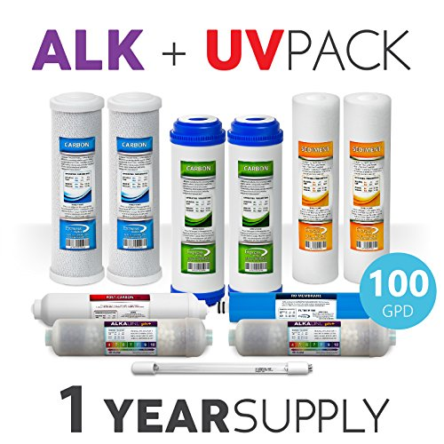 Express Water – 1 Year Alkaline Ultraviolet Reverse Osmosis System Replacement Filter Set – 11 Filters with UV and 100 GPD RO Membrane – 10 inch Size Water Filters -