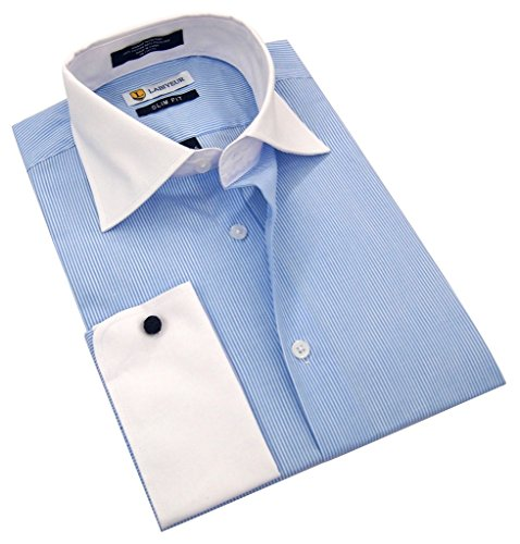 Labiyeur Men's Slim Fit French Cuff Striped Dress - Mens Cufflink Dress Shirt