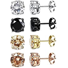 FUNRUN JEWELRY 4 Pairs Stainless Steel CZ Stud Earrings for Womens Mens 4-8MM Nickel Free
