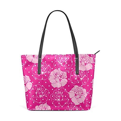 Femmes En tout Bandoulière Cuir Bonbon Rose Main Pu À Coosun Pour Multicolore Fourre Moyen Floraux Roses Sacs Sac Pois Et Les CqwvUz