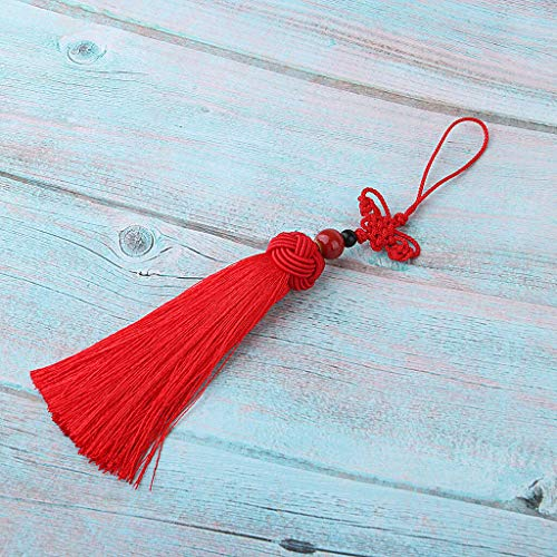 Retro Chinese Knot Pendant Hanging Tassels Lucky Car Hand Fans Keys Decor | Color - Red
