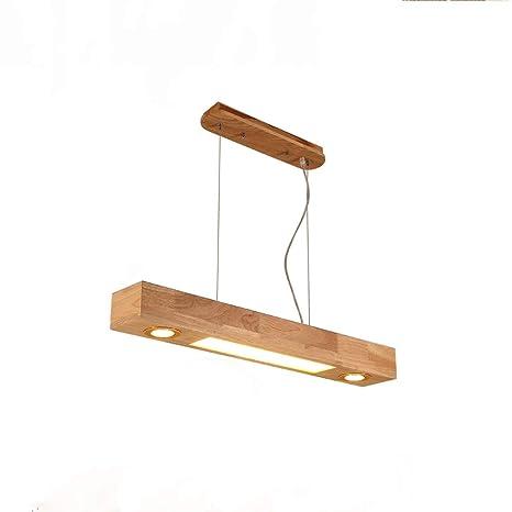 ZMH - Lámpara colgante de techo LED, madera, altura ...