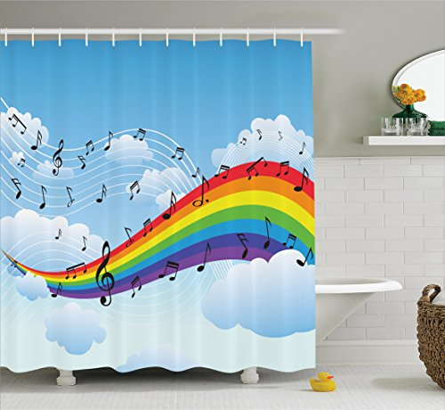 Ambesonne Music Decor Collection, Rainbow with Music Notes Cloudscape Cartoon Fun Artwork Symphony Sky Picture, Polyester Fabric Bathroom Shower Curtain Set with Hooks, Blue Red Yellow Orange