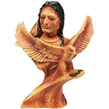 Native American Indian Figurine - Indian Warrior Native Decor, Polyresin Face and Perched Eagle Indian Sculpture for Interior Decoration, Brown - 5.2 x 7 x 2 Inches