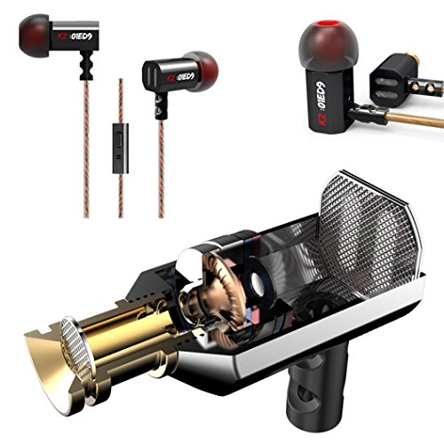 Iusun Original KZ-ED9 T-shaped Driver Unit In-Ear Headphones Pro Performance Tuning Nozzles Earbuds for iPhone / Samsung / LG / HTC Smartphones / Media Players (With Microphone Version) - Hi-fi Electric Sunglasses
