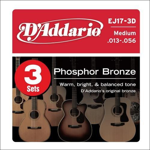 (D'Addario EJ17 Phosphor Bronze Medium Acoustic Strings 3-Pack)