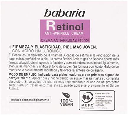 BABARIA Crema Facial Antiarrugas Mujer Retinol y Acido Hialuronico, Blanco, 50 Mililitros