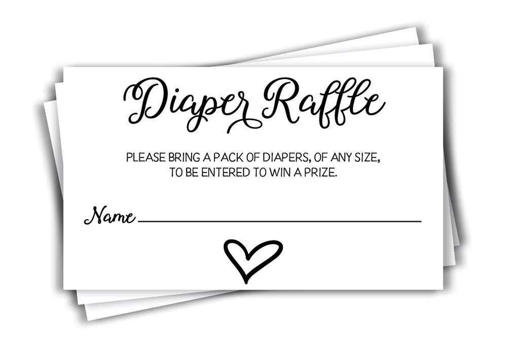 All Ewired Up 50 Gender Neutral Watercolor Heart Baby Shower Diaper Raffle Tickets, Lottery Insert Cards for Heart Baby Shower Invitations Supplies Games for Baby Gender Tickets (50-Cards)