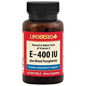Lindberg E-400 IU Plus Mixed Tocopherols, Natural d-Alpha Form of Vitamin E (60 Softgels)
