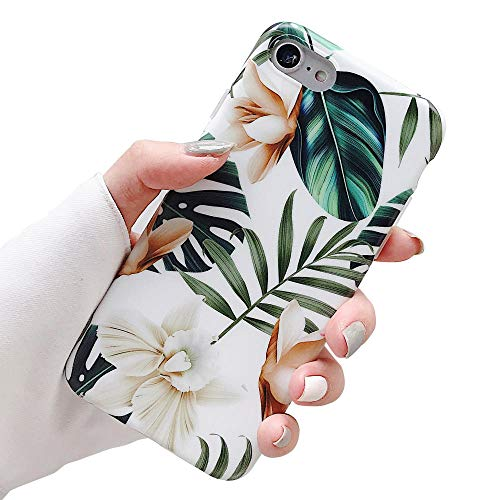 iPhone 8 Case, 7 Case for Girls, ooooops Green Leaves with White&Brown Flowers Pattern Design, Slim Fit Clear Bumper Soft TPU Full-Body Protective Cover Case for iPhone 7/8 4.7'' (Leaves&Flowers)