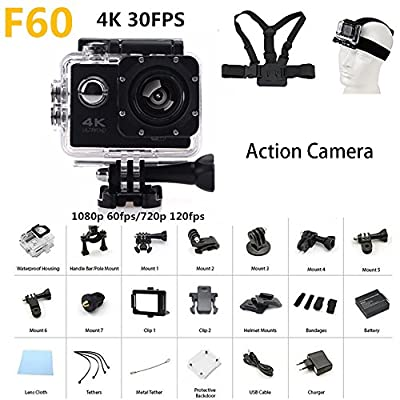 "4K Action camera F60 Allwinner V3 4K/30fps 1080P sport WiFi 2.0"" 170D Helmet Cam underwater go waterproof pro camera"