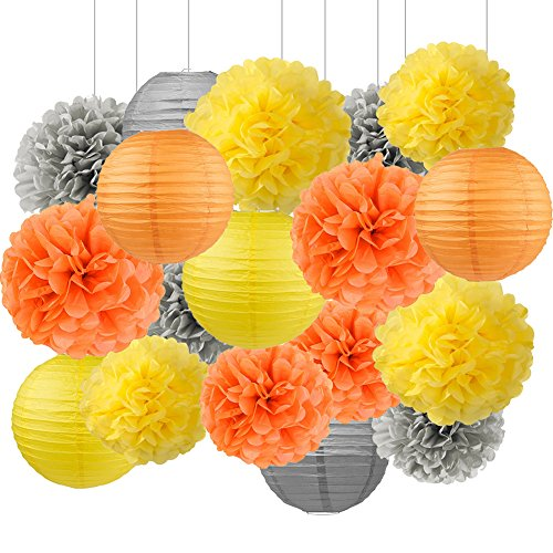 Wcaro Thanksgiving Decorations Fall Decor Autumn Decor Harvest Decor Classroom Decor Office Decorations Hanging Paper Lantern Tissue Paper Pom Pom Yellow, Orange, Grey Party Decor