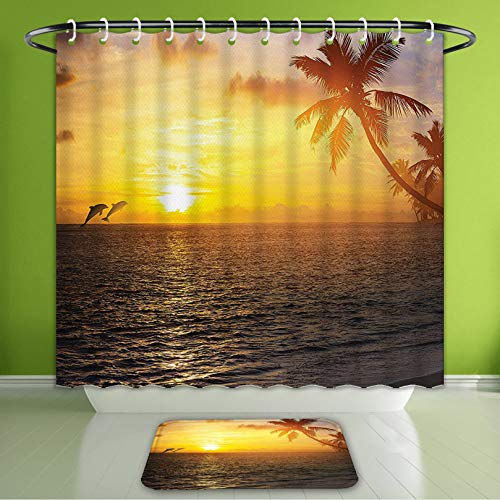 Waterproof Shower Curtain and Bath Rug Set Palm Trees Ocean Decor Tropical Island Beach and Sunset Dolphins Print Slate Grey Blue Gold Bath Curtain and Doormat Suit for Bathroom 66