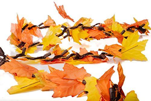 CraftMore Lighted Fall Garland with Autumn Leaves 9 Feet