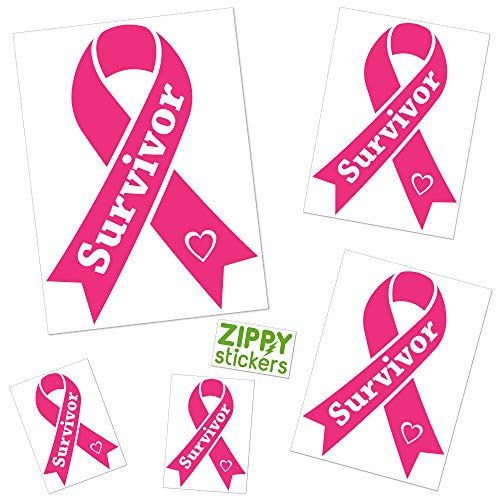 (Zippy Stickers | 5X Bundle Breast Cancer Survivor Decal Ribbon Vinyl Sticker [Includes Practice Decal as Shown], Bright Pink, Great Cancer Survivor Gift, 3 Sizes)