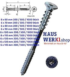500, 6 x 145 mm Profi Justierschrauben 6 mm Durchmesser Abstandsschrauben Distanzschrauben verz TX 25