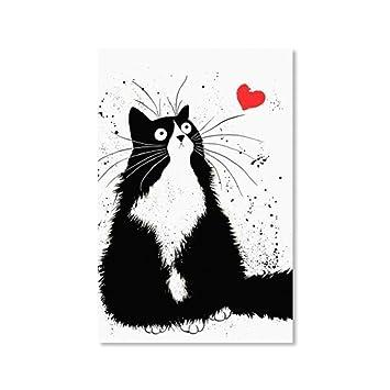 Gato Arte de la pared Pintura de la lona Cartel nórdico Negro ...