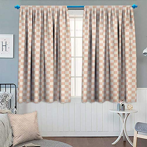 Chaneyhouse Geometric Window Curtain Fabric Pale Salmon Colored Chess Table Like Modern Pink Color Squares Artwork Print Drapes for Living Room 55