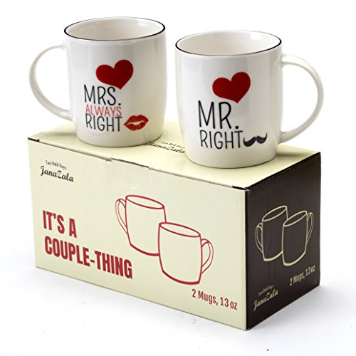 Janazala Mr Right and Mrs Always Right Coffee Mugs For Couples, His and Hers, Anniversary Gifts, Friends Engagement, Wedding, Married and Parents Gift, 13 oz Couple - Anniversary Mug