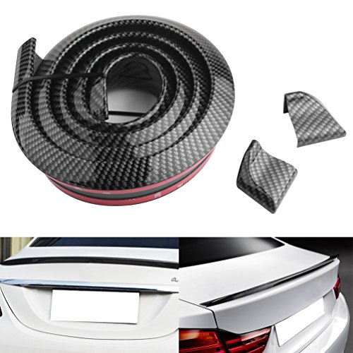 PROAUTO Side Skirts 4.9ft Carbon Fiber Pattern Trunk Roof Lip Universal Front Bumper Spoiler for Cars Trucks SUV Body Kit Trim Sticker for Jeep