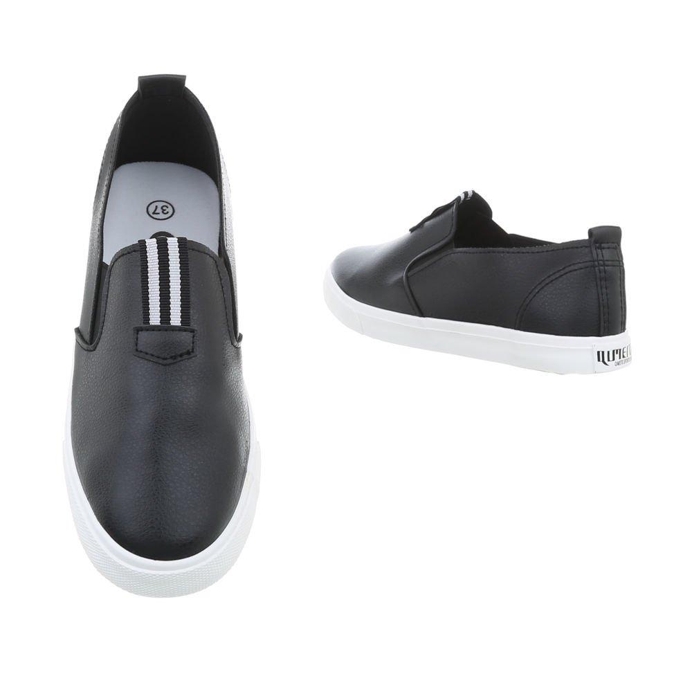 Ital-Design Scarpe Donna da Donna Scarpe Sneaker Piatto Sneakers Low Nero M-7a 1dae40