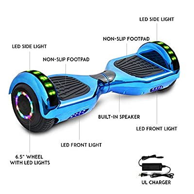 Otter Star Electric Chrome Hoverboard with Built-in Speaker and LED Lights self Balancing Scooter Dual Motors Hover Board UL2272 Certified (Blue)