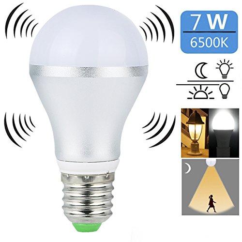 Motion Sensor Light Bulb,SUNINESS 7W E26/E27 Dusk to Dawn Auto On/Off LED Light Bulb Indoor/Outdoor Sensor Night Lights Motion Sensor Bulb for Stairs Garage Walkway Yard Hallway Patio (Cool White) For Sale