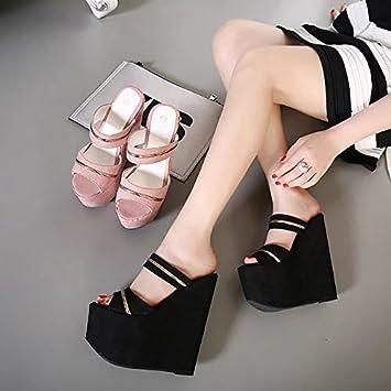 GTVERNH Sommer 17Cm High Heels Sandalen Hausschuhe Muffin Sexy Dicken Sohlen Keile Frauen Sandalen Und Slipper