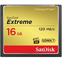 SanDisk Extreme 16GB Compact Flash Memory Card UDMA 7 Speed Up To 120MB/s, Frustration-Free Packaging- SDCFXS-016G-AFFP (Label May Change)