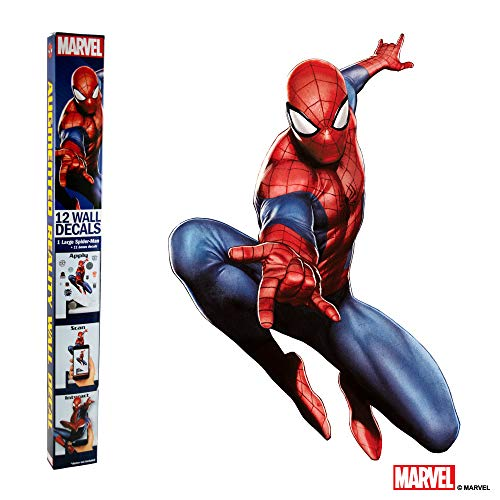 (MARVEL SPIDER-MAN VINYL STICKERS - 12 Piece Augmented Reality Marvel Stickers for Kids Rooms - Kids Wall Decals For Bedroom Are Easy To Put Up On Wall & Peel Off - Best Bedroom Décor for Kids)