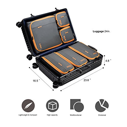BAGSMART 6 Sets Packing Cubes 3 Sizes Portable Travel Luggage Organizer for Carry-on Accessories by BAGSMART (Image #8)
