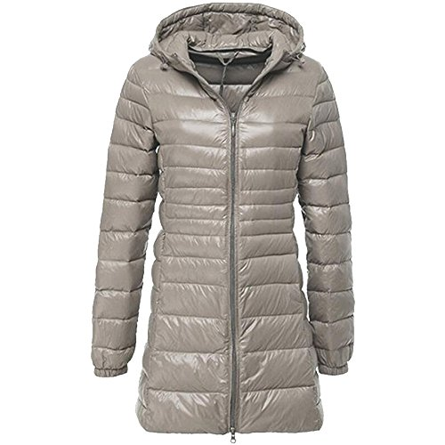 BOZEVON Women's Outerwear Down Jacket Long Lightweight Hooded Winter Coat 10 Color Available Grey
