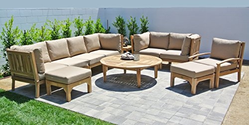 Outdoor Fabric Coal (Willow Creek Designs 11 Piece Huntington Deep Seating Set with 52