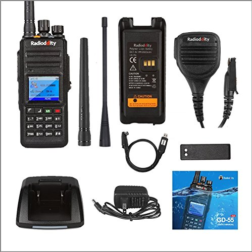 Radioddity GD-55 Plus 10W IP67 Waterproof UHF 400-470MHz 256CH 2800mAh DMR Two Way Radio Ham Radio Compatible with Mototrbo Dual Time Slot, with Free Programming Cable+ 2 Antennas + Remote Speaker by Radioddity (Image #6)