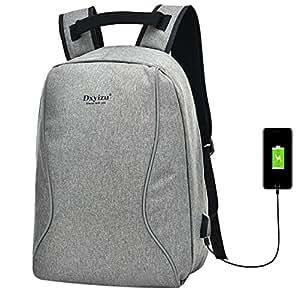 Super Modern Unisex Nylon antirrobo Bolsa de Mochila Escolar con USB Puerto del Cargador portátil para