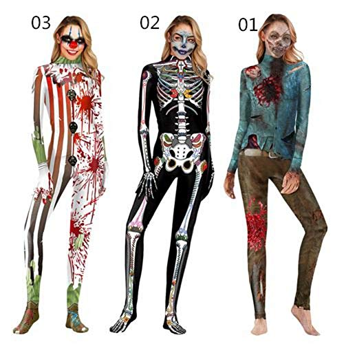riverbin 3 Styles Halloween Costume For Women 3D Zombie Truss Cosplay Costume Symbiosis Bodysuit Performance Clothing For Halloween Christmas Dancing Party Decoration ()