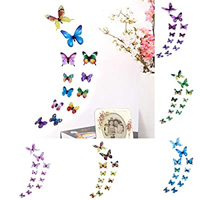LiPing Wall Paper 3D 12 Pcs Butterfly Wall Stickers-Removable Decal Art Home Decor Painting Supplies Room Decor Kit-Kids Bedroom Decoration