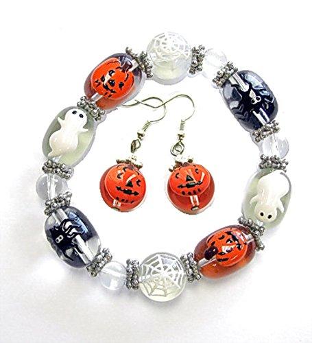 Painted Bracelet Set - Linpeng E-13/IUP10-6 Halloween Earrings and Bracelet Gift Set