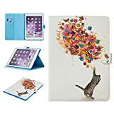 Casii iPad 6 Case 9.7 inch,Ultra Slim Smart ipad 6 Case with Card Slots Wallet Pocket Flexible Soft PU Leather Back Cover with Auto Sleep/Wake Magnetic Closure for iPad Air 2/iPad 6,Cat&Butterfly