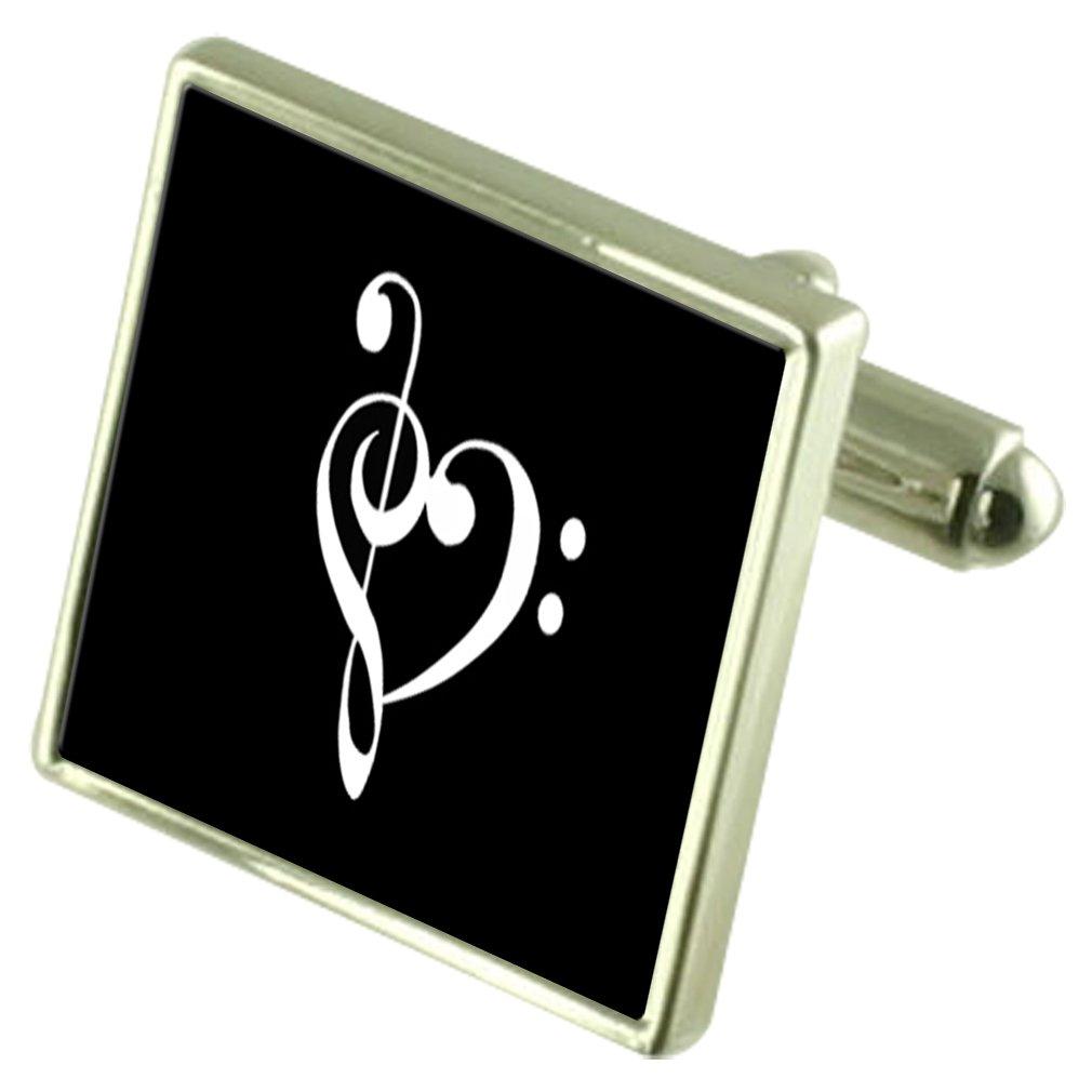 Musical Love Heart Sterling Silver Cufflinks Optional Engraved Box