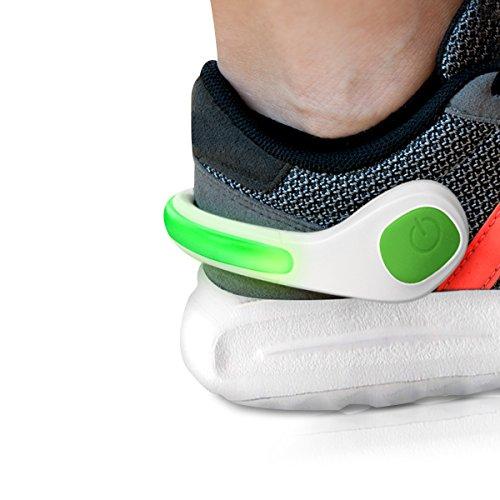 Led Shoe Scarpa Ciclismo Bianco Di 2x verde Luminoso Riflettente Kwmobile Corsa Luci Sicurezza Clips Clip Notturna Con Bianco Scarpe Sport Verde qw7xgnEY