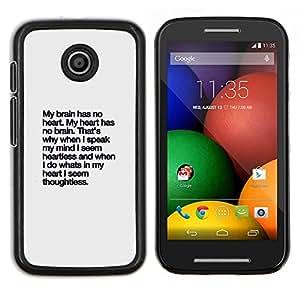 Lluvia Corazón texto inspirador inspirada- Metal de aluminio y de plástico duro Caja del teléfono - Negro - Motorola Moto E / XT1021 / XT1022