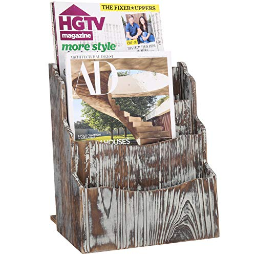 (MyGift 3-Slot Rustic Torched Wood Desktop Magazine Rack)
