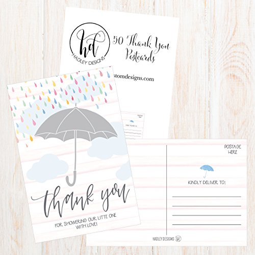 50 4x6 Rain Umbrella Blank Thank You Postcards Bulk, Cute Modern Sprinkle Baby Shower Rainbow Showered With Love Thank You Note Card Stationery For Wedding Bridesmaid Bridal, Religious, Holiday Photo #4