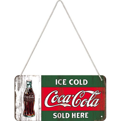 Nostalgic-Art 28002 Coca Cola Ice Cold Sold Here Hanging Sign, 10 x 20 cm