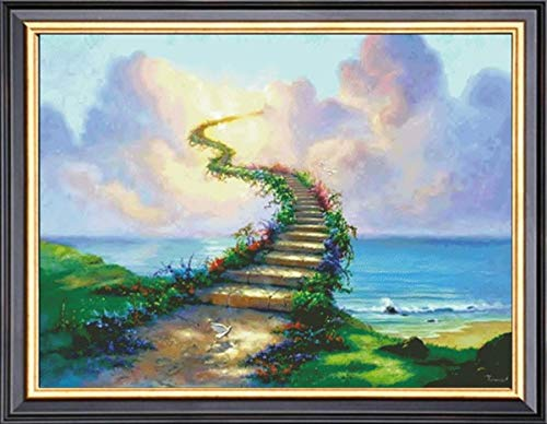 Zamtac 59-44-Needlework Crafts & Gift Home Decor French DMC Quality Counted Cross Stitch Kit Oil Painting 14 ct Stairway to ()
