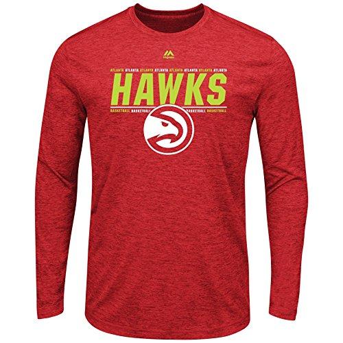 Majestic Atlanta Hawks NBA Men's Thrill A Minute Long Sleeve Performance T-Shirt (Small)