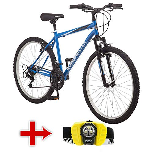 "Roadmaster 26"" Men's Granite Peak Men's Bike with Adjustable LED Headlight (Blue)"