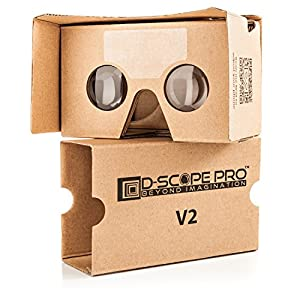 Google Cardboard V2 with Straps by D-scope Pro Virtual Reality Compatible with Android Apple Up to 6 Inch Easy Setup Machine Cut Quality Construction 37mm Lenses HD Visual Experience Includes QR Codes